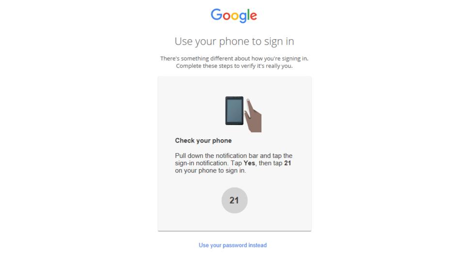 Google authentification par mobile