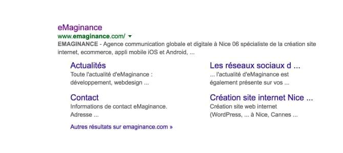 Sitelinks Google eMaginance Nice