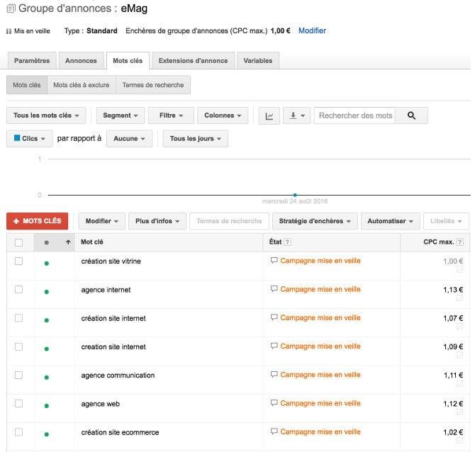 Gestion campagne Google Adwords