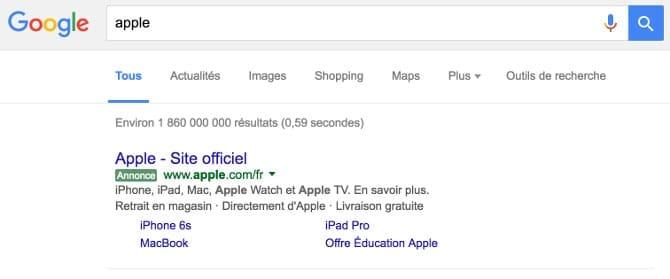 Google Adwords lien commercial