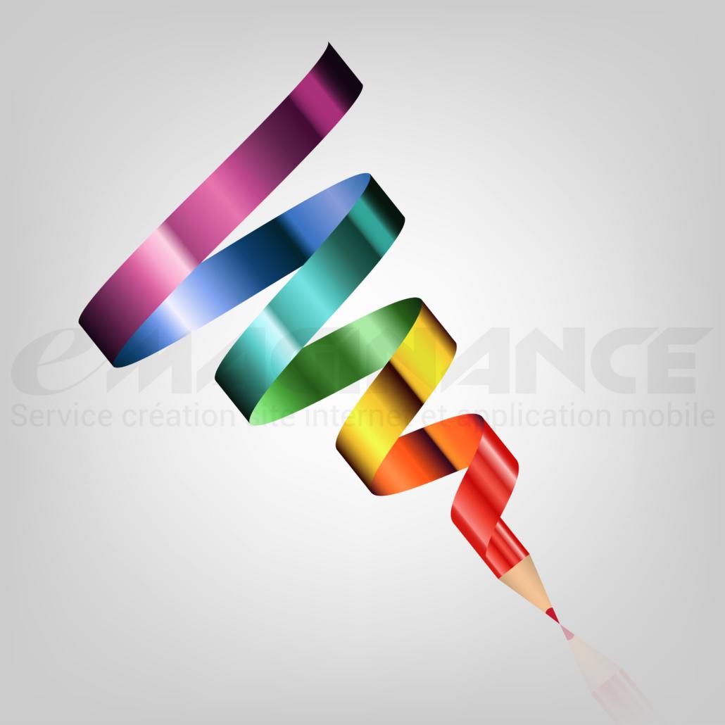Crayon Ruban 3D Graphic Design