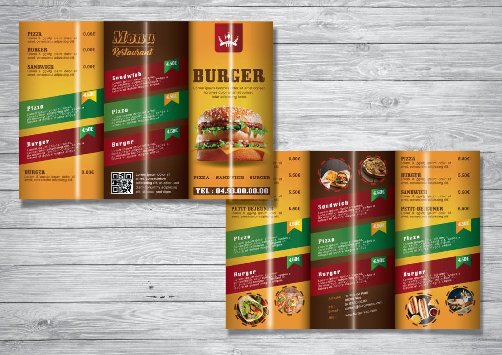 Fast Food Restaurant Trifold Brochure