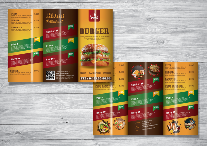 Fast Food Restaurant Trifold Brochure