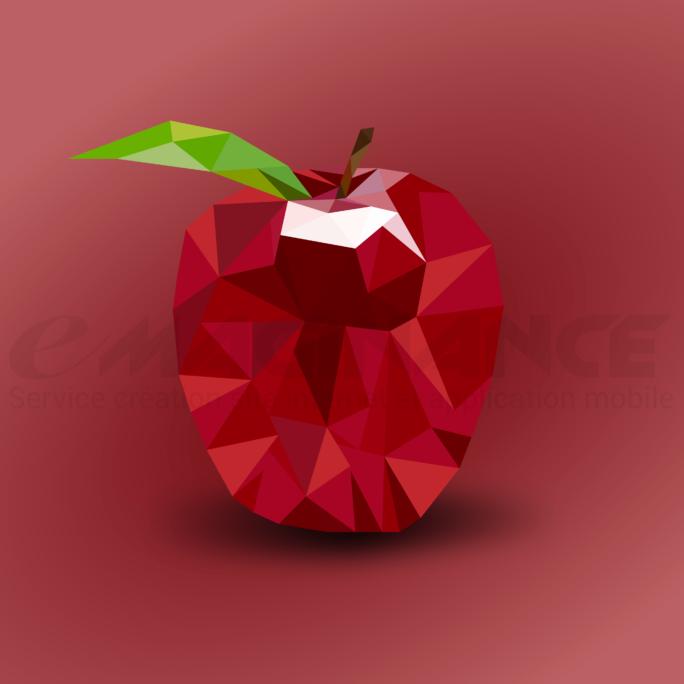Logo Pomme LowPoly Design